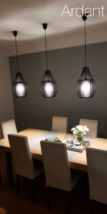 czarne lampy nad stół aranżacja