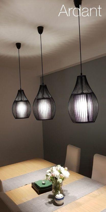 druciane lampy w jadalni aranżacja