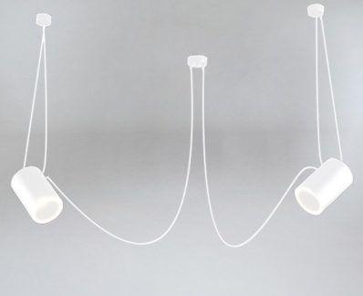 Lampa wisząca Dubu z kloszem tubą i ozdobnymi kablami - biała