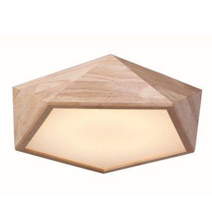 geometryczny plafon drewniany