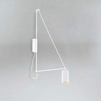 Designerski kinkiet Kabe - wysięgnik - klosz tuba - biały