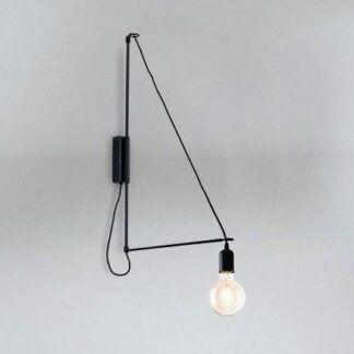 Designerski kinkiet żarówkowy Kabe na wysięgniku - czarny