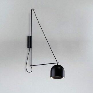 Kinkiet Kabe z półokrągłym kloszem na wysięgniku - czarny