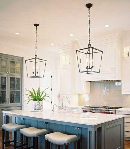 piękne lampy vintage i rustyklane wiszace w kuchni