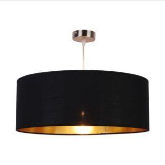 Elegancka lampa wisząca Andrea - czarno-złoty abażur