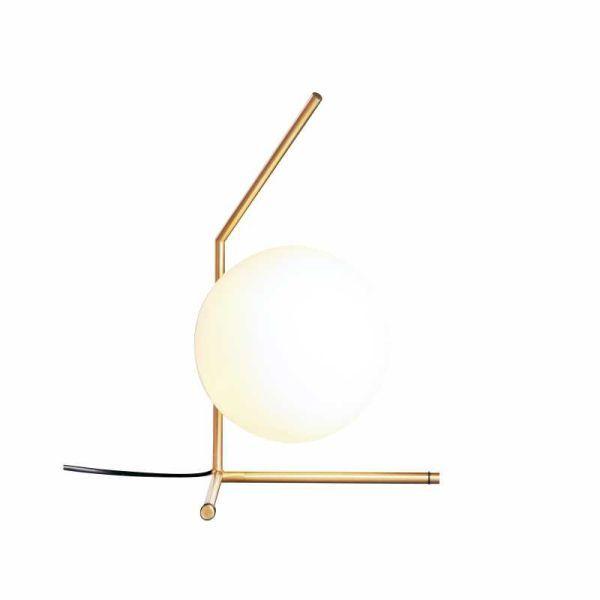 złota lampa stołowa szklana kula