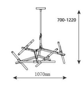 Dekoracyjna lampa Sticks 10 - regulacja ramion - czarna
