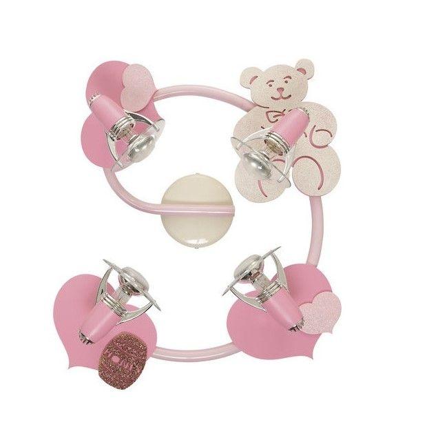 Różowy plafon Honey - 4 reflektory