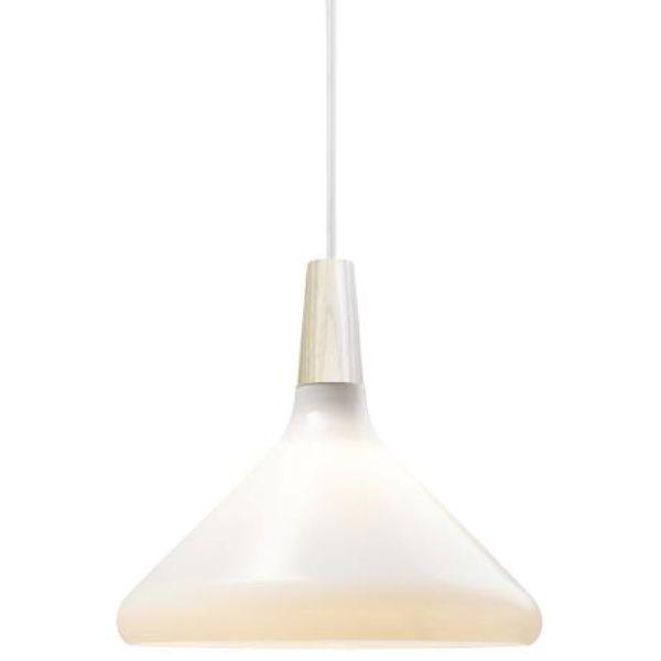 biała lampa wisząca ze szkła do salonu