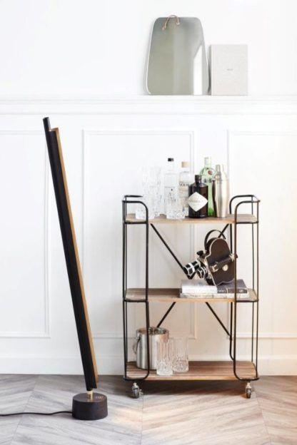 designerska lampa podłogowa led czarna