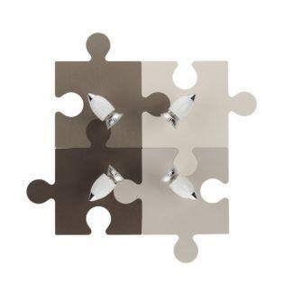 Brązowy plafon Puzzle - 4 reflektory