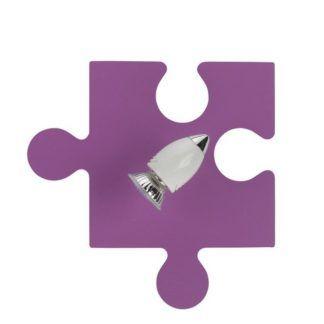 Różowy kinkiet Puzzle - biały reflektor, dziecięcy