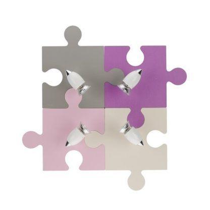 Kolorowy plafon Puzzle - 4 reflektory, dziecięcy