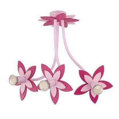 Żyrandol dziecięcy Flowers - różowy, 3 klosze