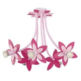 Duży żyrandol Flowers - 5 różowych kwiatów