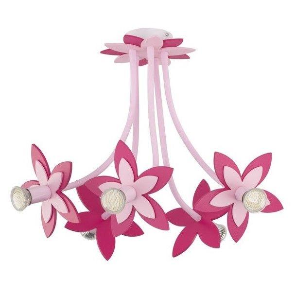 różowy żyrandol w kwiaty