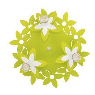 Plafon Flowers - zielona podstawa w kwiaty