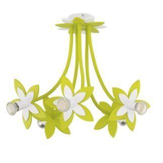 Zielony żyrandol Flowers - 5 kloszy, dziecięcy