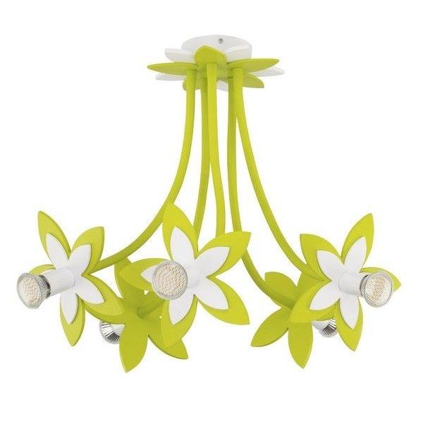 zielony żyrandol kwiaty