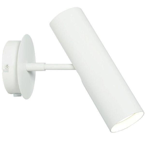 biały metalowy kinkiet z tubą