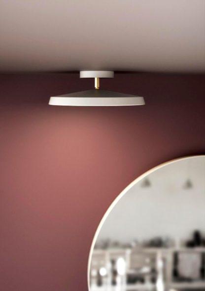 biała lampa sufitowa płaski klosz