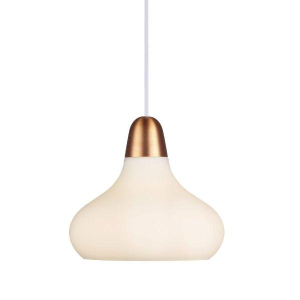 biała lampa wisząca złote mocowanie aranżacja