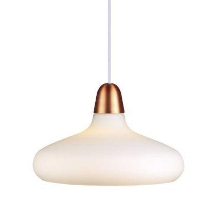 biała lampa wisząca ze złotym detalem
