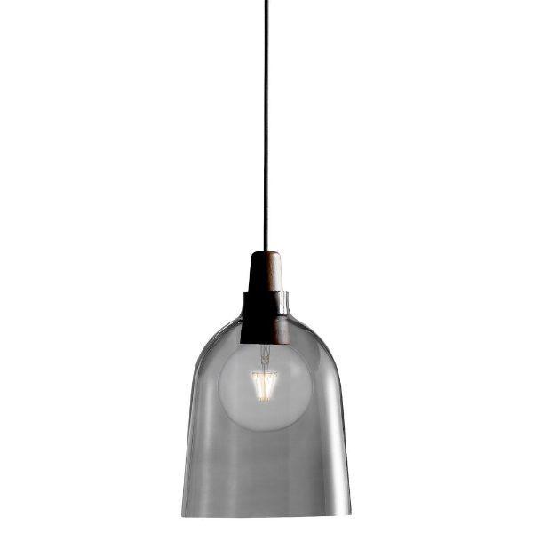 szklana szara lampa wisząca z drewnianym elementem