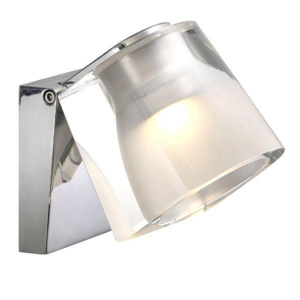 Srebrny kinkiet IP S12 - szklany, podwójny klosz, IP44