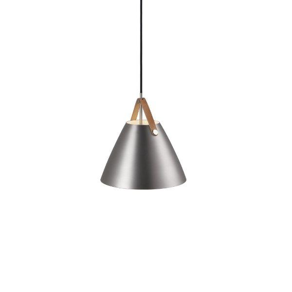 srebrna lampa wisząca metalowa