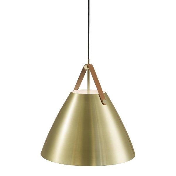 złota lampa wisząca na skórzanym pasku