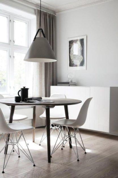 szara lampa wisząca nad stół aranżacja