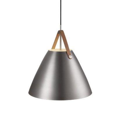 srebrna lampa wisząca stożkowy klosz
