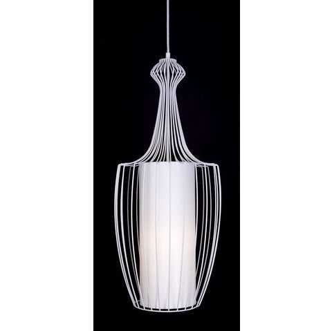 biała druciana lampa wisząca z abażurem