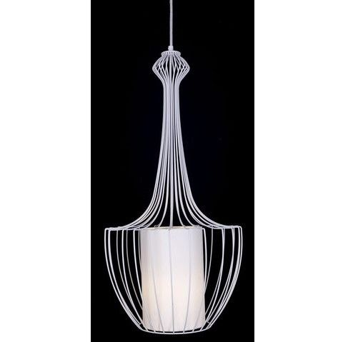biała lampa wisząca druciak z abażurem