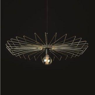 Stylowa lampa wisząca Umbrella - złoty, druciany klosz