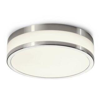 Okrągły plafon Malakka - mleczny klosz, srebrna oprawa