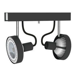 Podwójna lampa sufitowa Cross - czarne reflektory