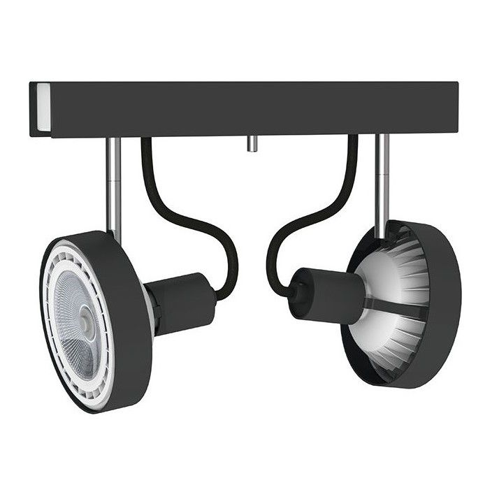czarna lampa sufitowa z reflektorami