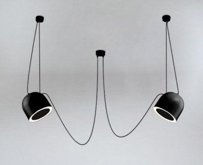 Lampa wisząca Dobo  z dwoma zjawiskowymi kloszami - czarny