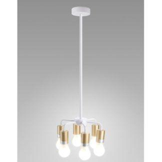 Biała lampa wisząca Inga -złote oprawki