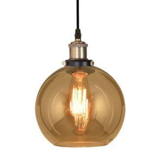 Lampa wisząca New York Loft No. 2 - bursztynowy klosz, mosiądz