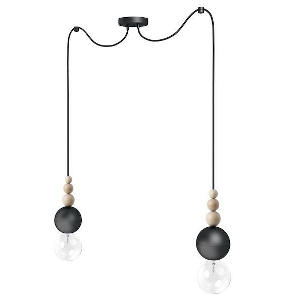 czarna lampa wisząca żarówkowa