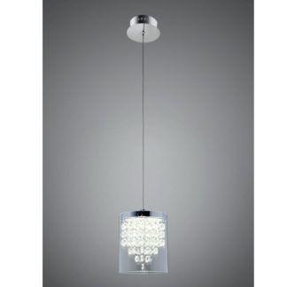 Elegancka lampa wisząca Diamonda - szklany klosz, chrom
