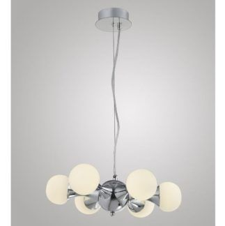 Nowoczesna lampa wisząca Atomic - białe klosze, srebrna