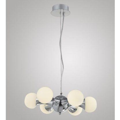 srebrna lampa wisząca szklane kule