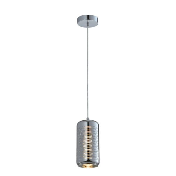 srebrna lampa wisząca szklana