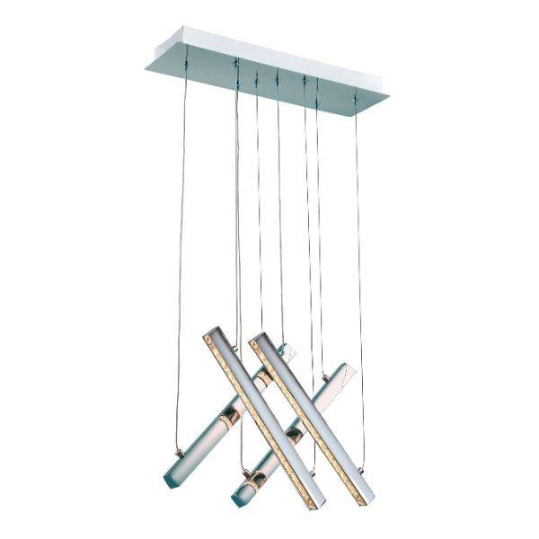 srebrna lampa wisząca panele led