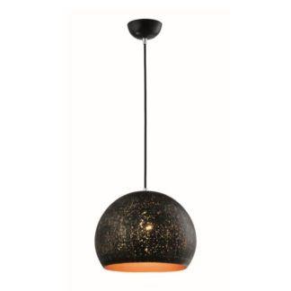 Czarna lampa wisząca Sharin - metalowa kula, ażurowa