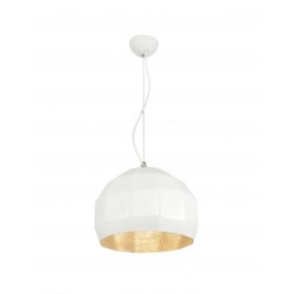 biała geometryczna lampa wisząca